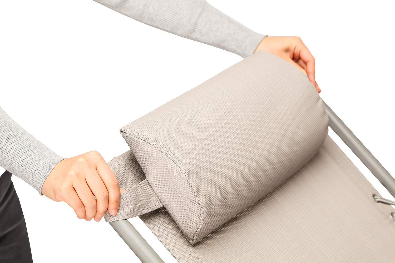 Textilene 165 x 110 x 65 cm Carico Massimo: 100 kg con Cuscino Grigio SUNMER Set di 2 Sedia Pieghevole A gravit/à Zero Sdraio per Giardino