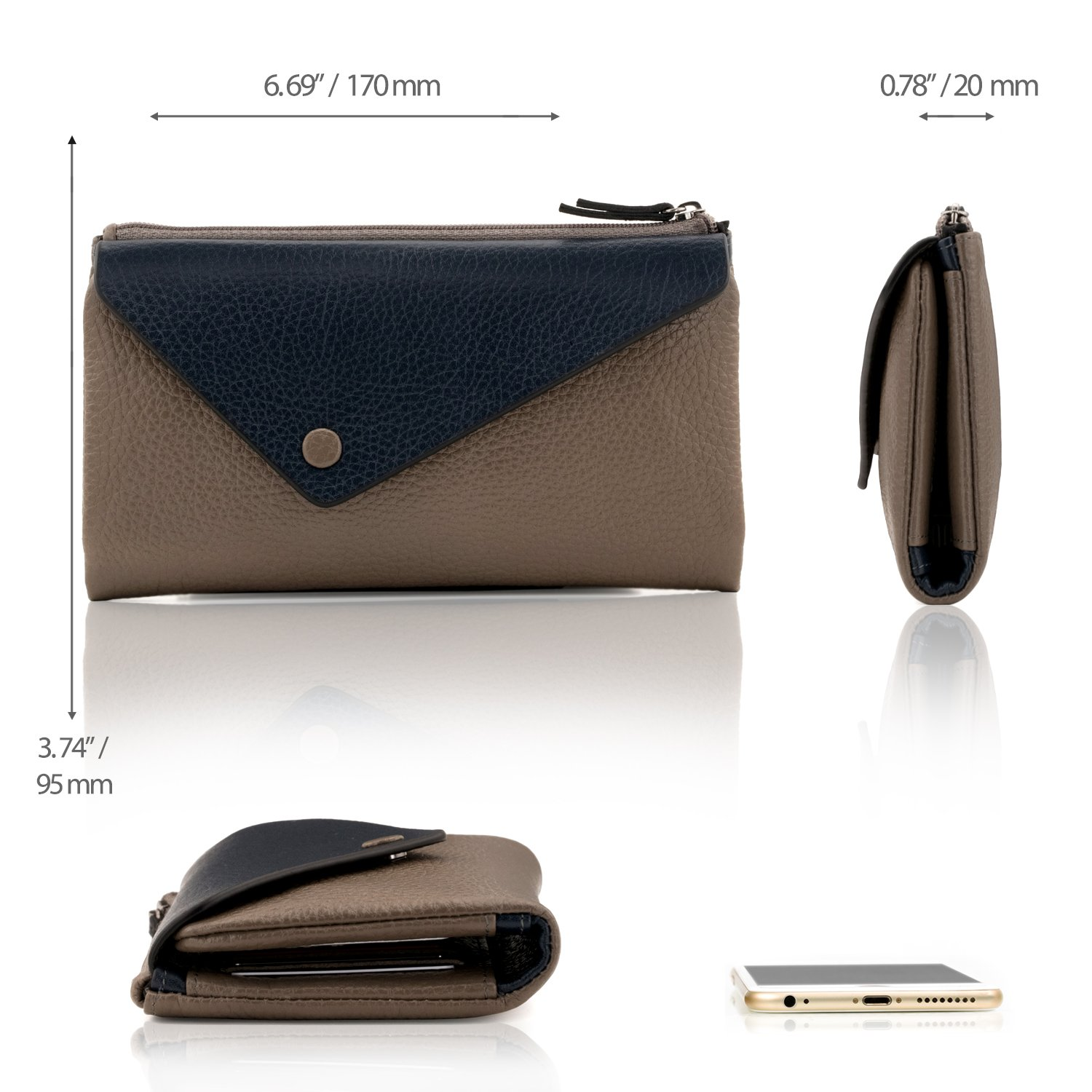 OTTO Genuine Leather Envelope Wallet with Phone Compatible Slots - RFID Blocking - Unisex (Navy Blue & Mink) by OTTO Leather (Image #2)
