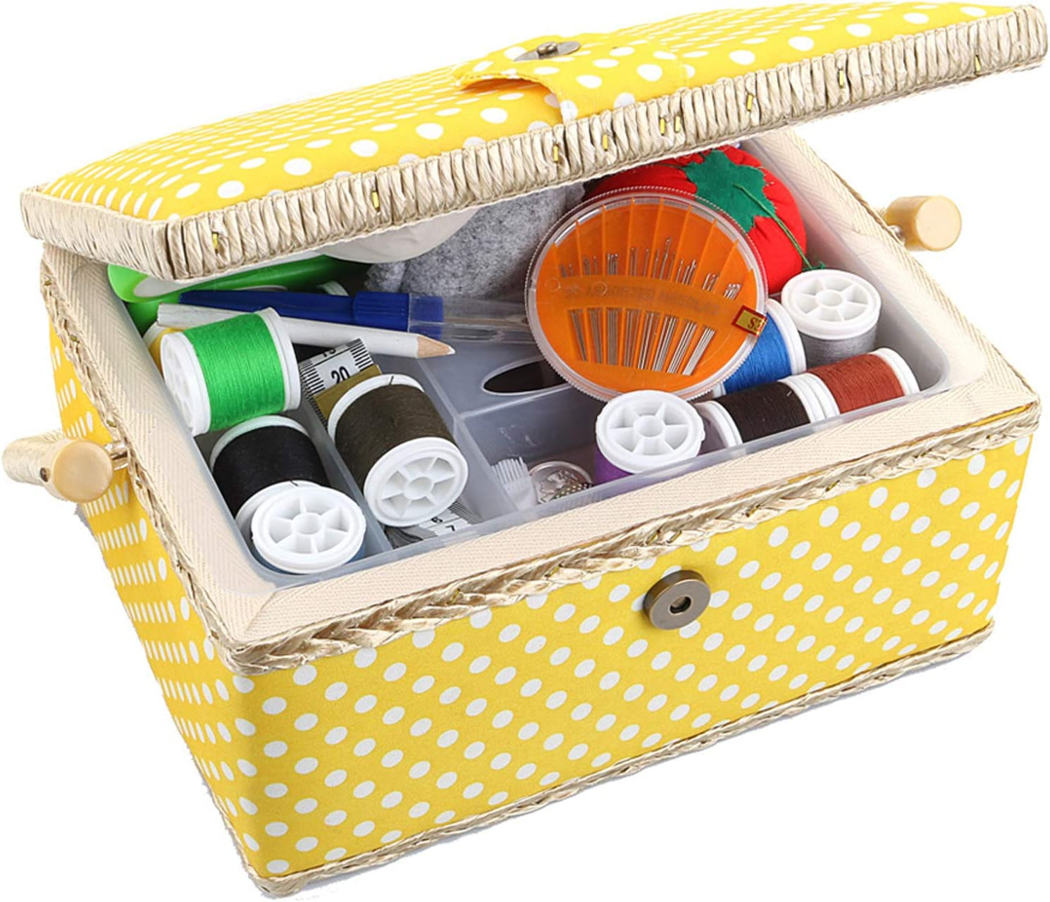 Wooden Sewing Basket with Accessories Sewing Box with Sewing Kit Ac Sewing Kit