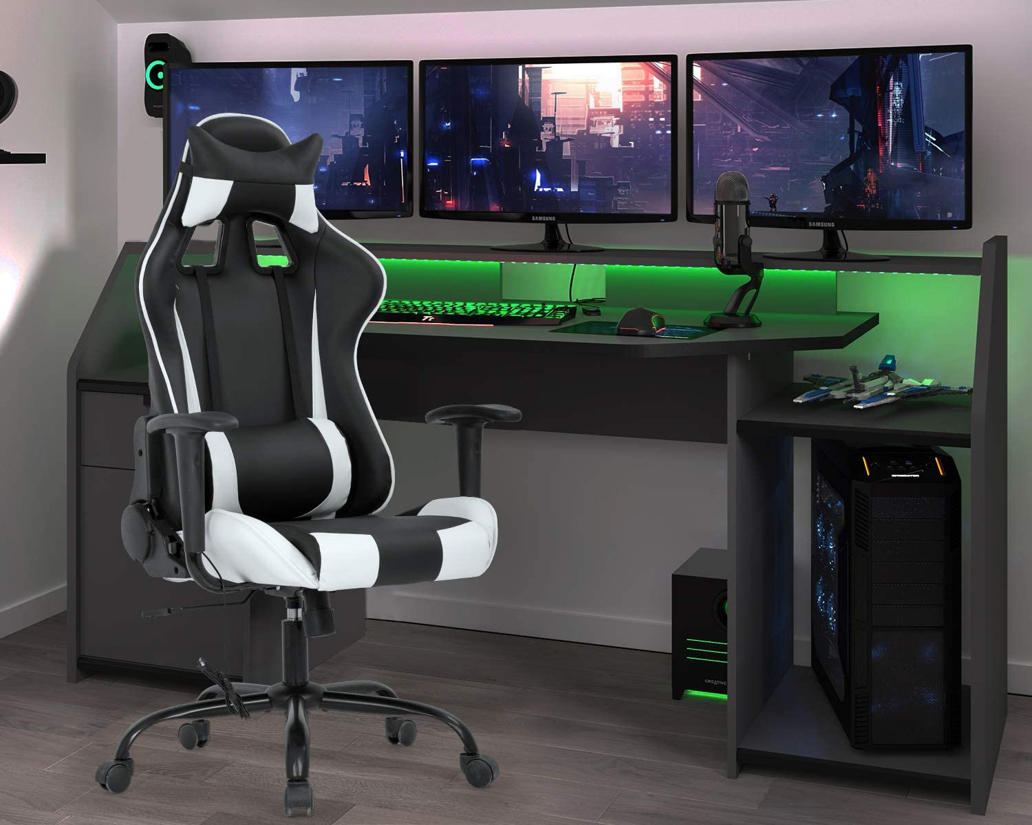Gaming Chair Racing Office Chair Massage Swivel Chair High Back PU Leather Executive Rolling Task Adjustable Computer Chair with Lumbar Support Headrest Armrest Desk Chair for Adults White