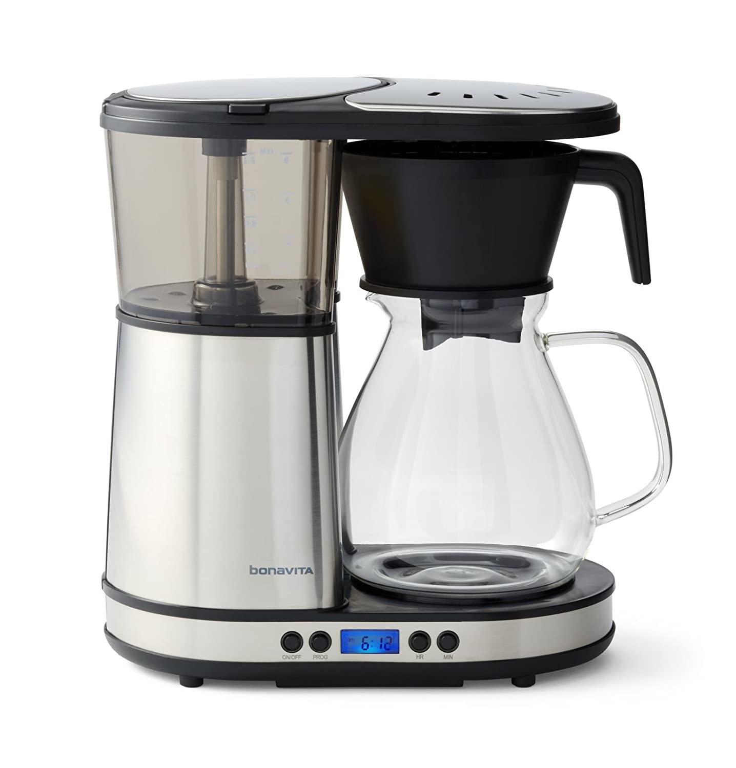 Bonavita BV1902DW 8-Cup One-Touch Coffee Maker Featuring Programmable Setting and Glass Carafe with Warming Plate, Silver