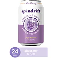 Spindrift Sparkling Water, Blackberry Flavored, Made with Real Squeezed Fruit, 12 Fl Oz Cans, Pack of 24 (Only 13 Calories per Seltzer Water Can)