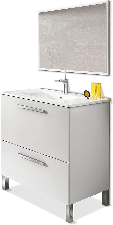 ARKITMOBEL 305412BO - Mueble de baño Urban, módulo de Lavabo con Espejo Color Blanco Brillo, Medidas: 80 x 80 x 45 cm de Fondo