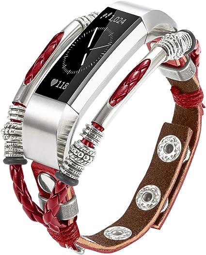 Marval.Pouch, Compatible con Bandas Fitbit Alta, Correa de Cuero Hecha a Mano Alta HR/Alta Ace, Correa de Repuesto única, tamaño Ajustable, Correas de muñeca de Moda para Mujer, Blood Mary Red: Amazon.es: