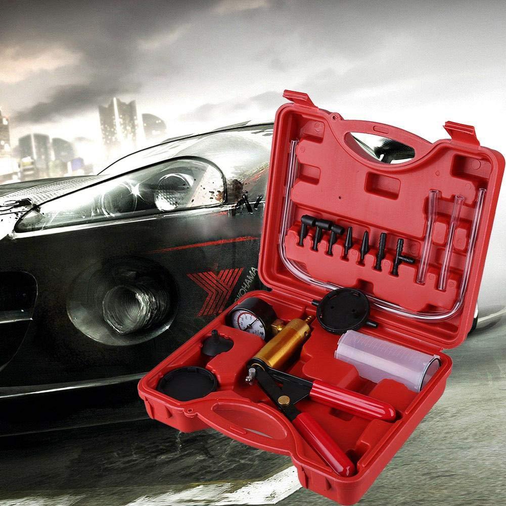 2 in 1 Automotive Tuner Tool Kit with Case Qiilu Hand Held Brake Bleeder and Vacuum Pump Tester Set