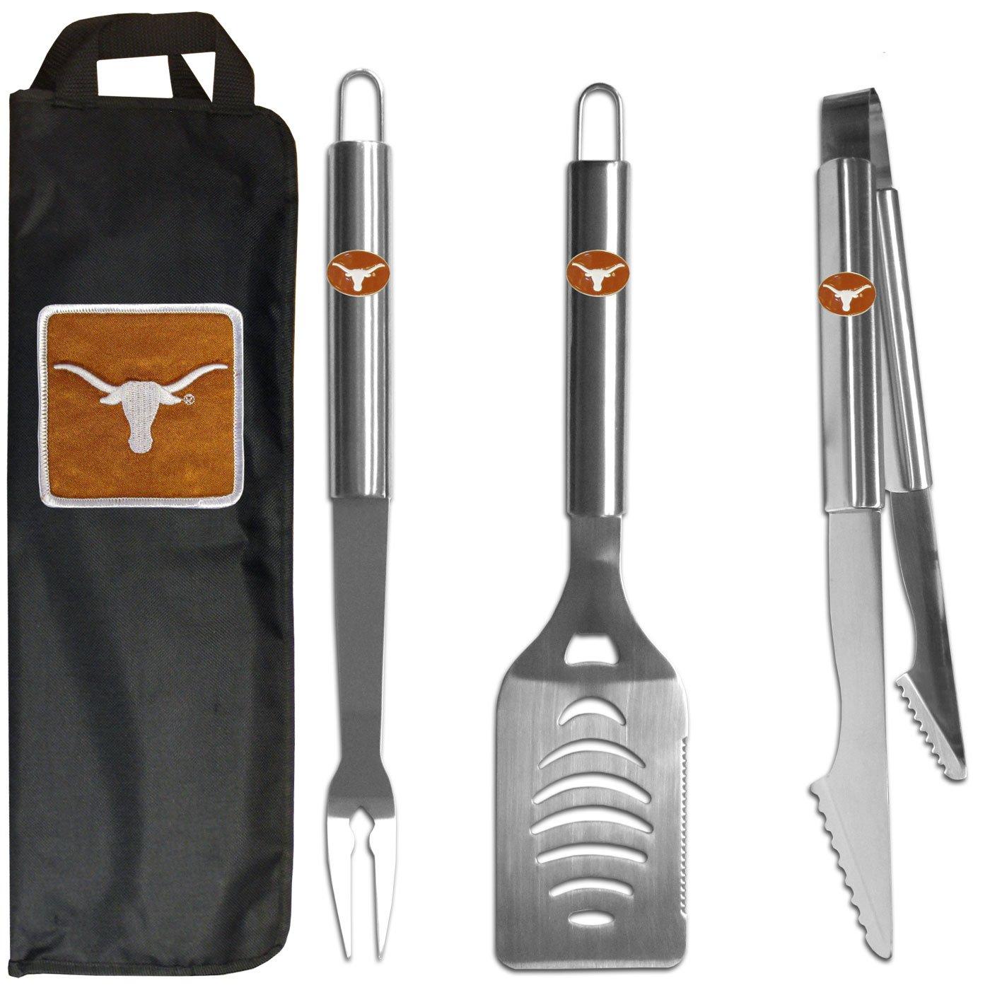 Siskiyou NCAA Texas Longhorns Stainless Steel BBQ Set with Bag (3 Piece), Black