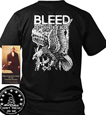 0f21f9075 Amazon.com: Sons of Libery Bleed. Red, White and Blue. T-Shirt. Made ...