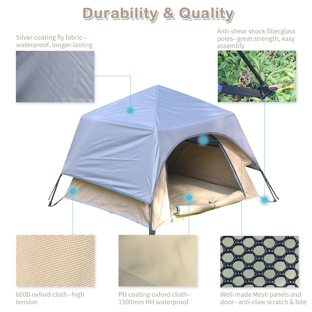 Yolafe Portable Pet Tent, Outdoor Pet Kennel with Innovative Instant Setup Centre Hub Design, Ideal for Camping with Cats and Dogs, Included Black Carry Bag and 2 (Brown) by Yolafe (Image #3)