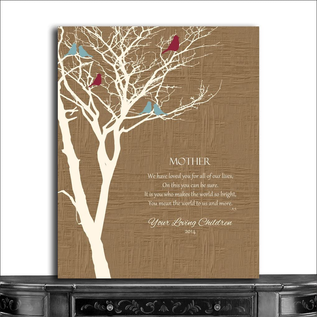 Personalised Family Tree Gift Print Mothers Day Birthday Art Print Wall