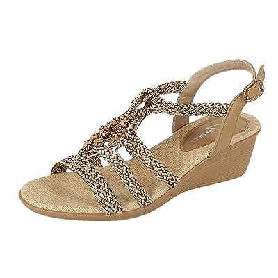 Forever Link Women's Woven Beaded Metallic Boho Wedge Sandal (7 B(M) US, Taupe) | Sandals