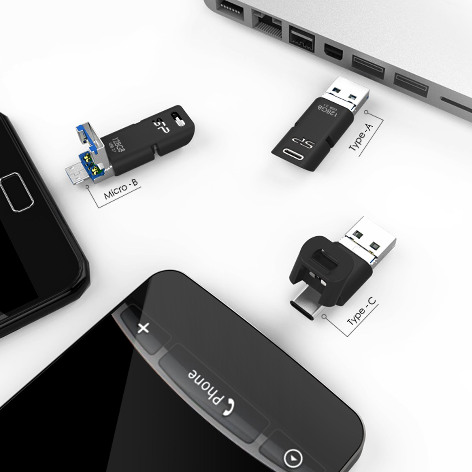 Silicon Power 64GB 3-in-1 USB 3.0 Flash Drive, USB A to Type-C Micro B PC, Mac, Smartphones Tablets by Silicon Power (Image #6)
