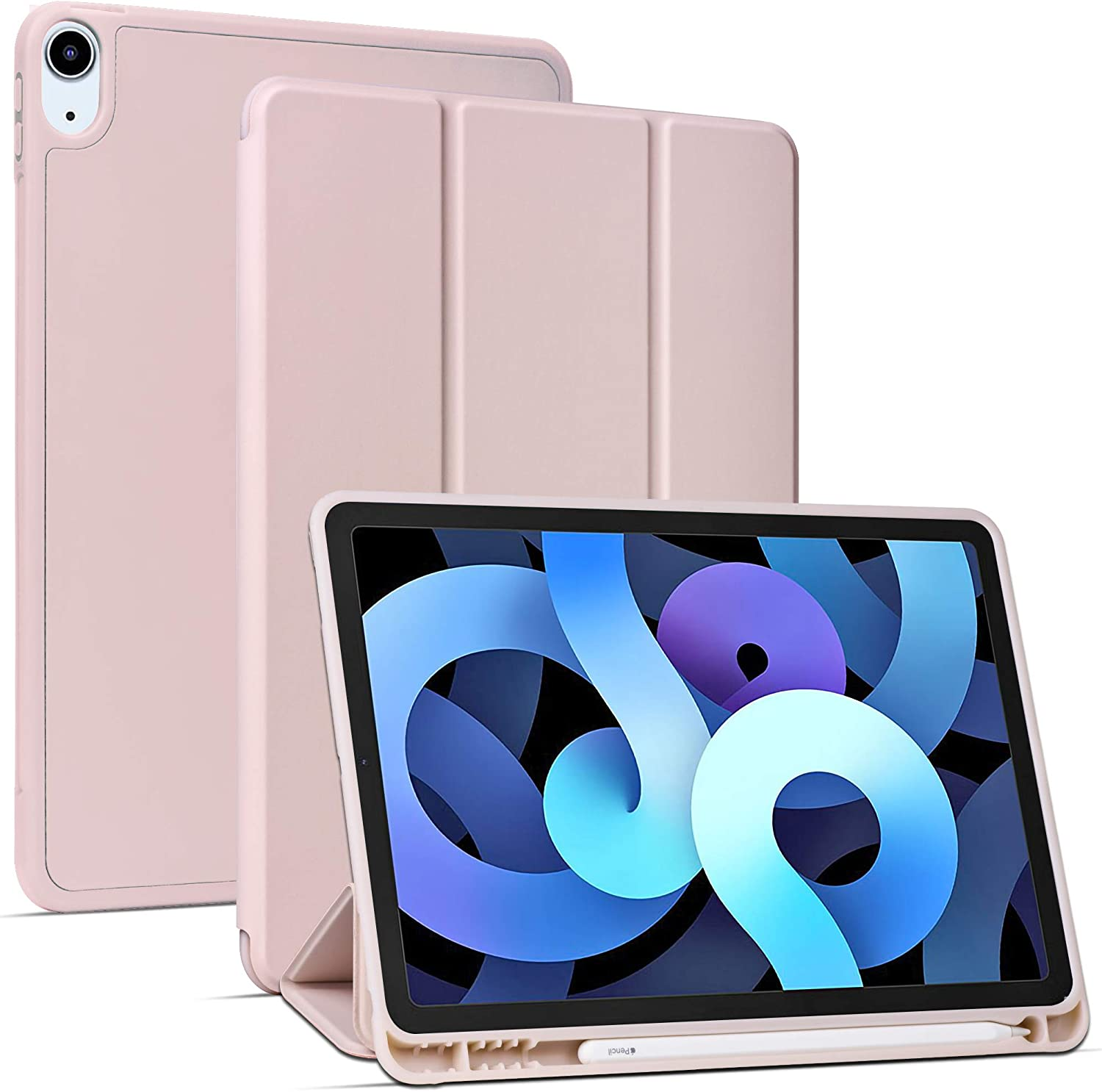 Arae for iPad Air 4 Generation 10.9 Case (2020) Auto Wake / Sleep Feature Standing Cover, Rosegold