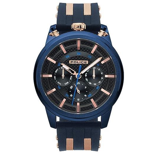 Police Reloj Multiesfera para Hombre de Cuarzo con Correa en Silicona PL.15414JSBL/61P: Amazon.es: Relojes