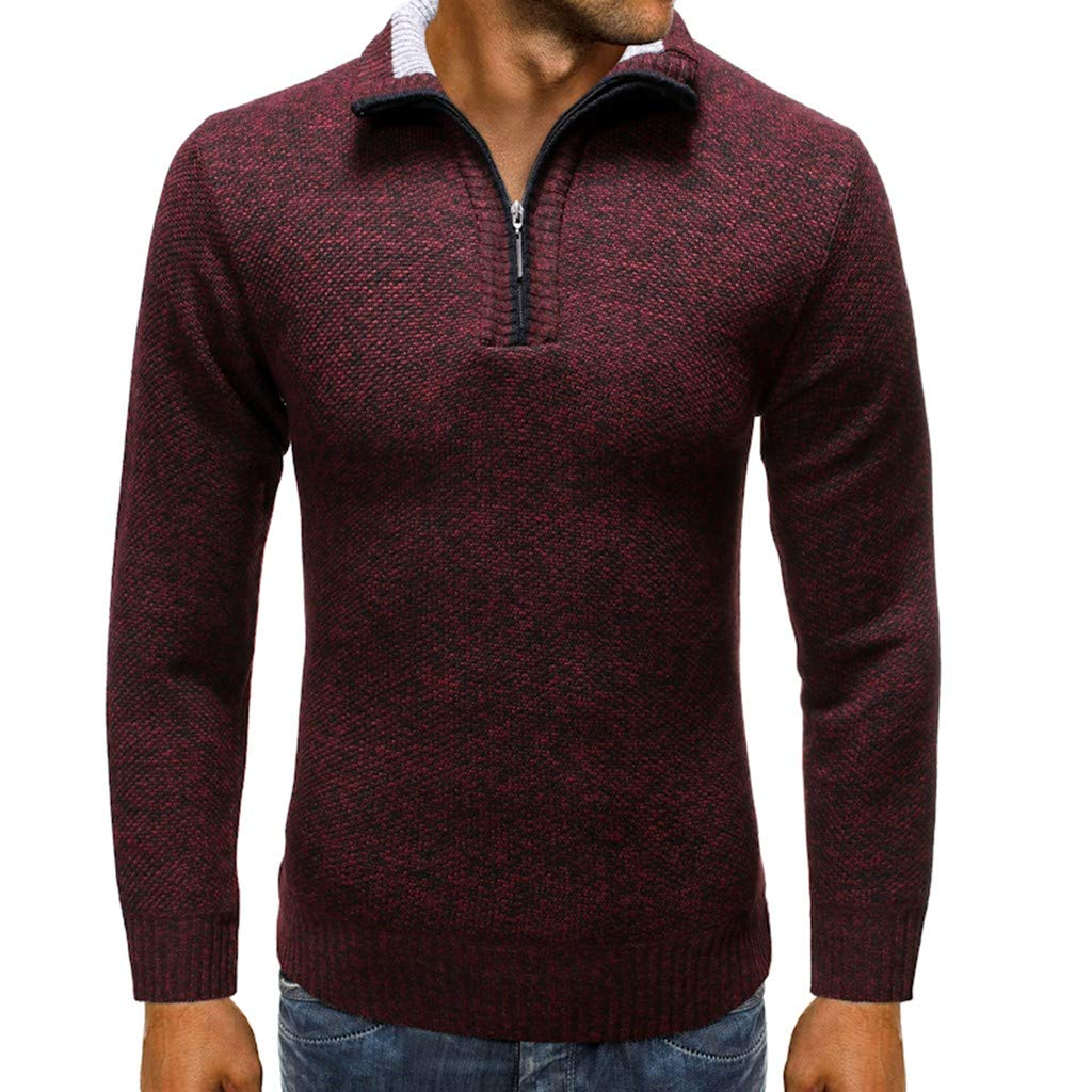 Beppter Mens Slim Fit Zip Up Polo Sweater Casual Long Sleeve Sweater Pullover Jacket(Wine Red,US Size S = Tag M) by Beppter