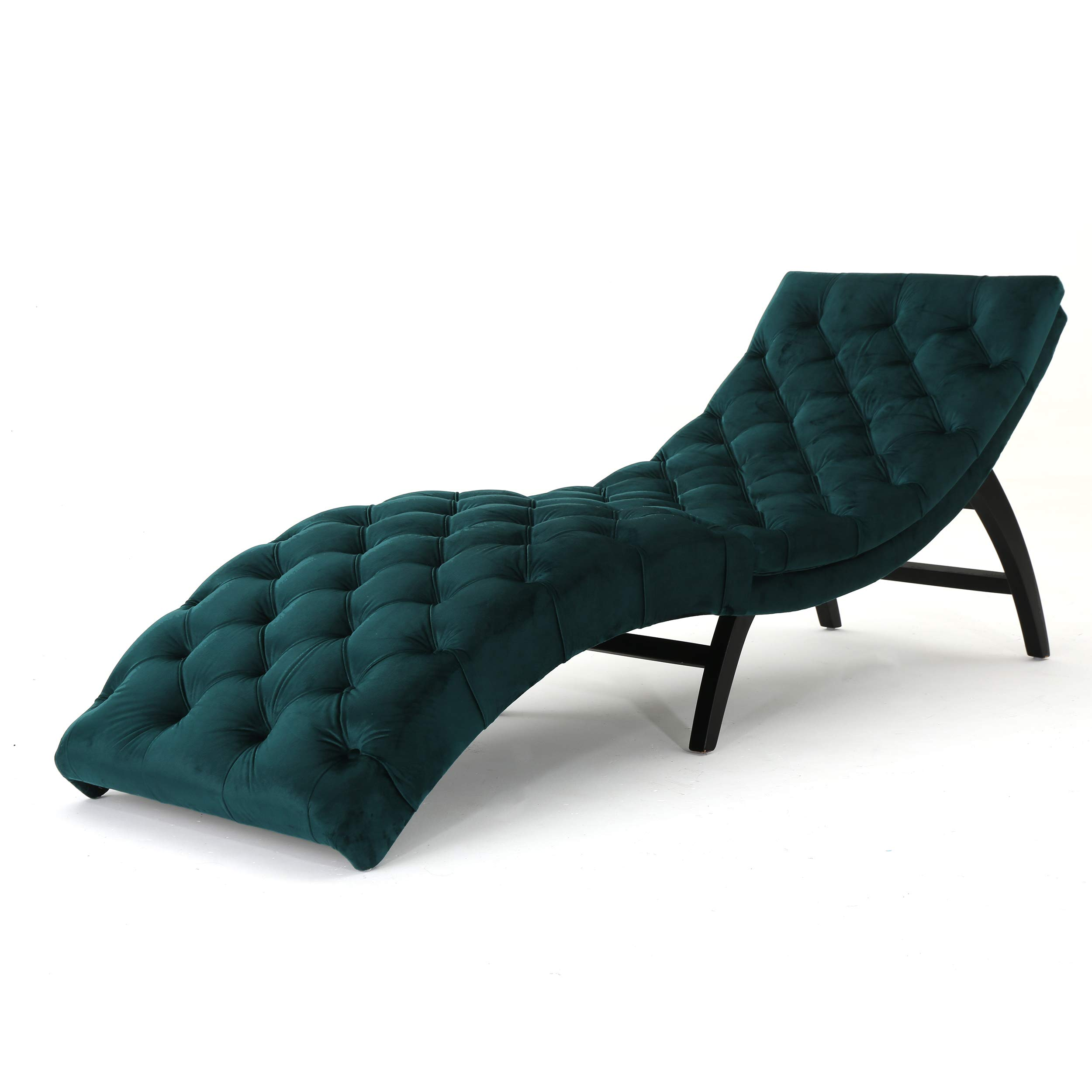 Christopher Knight Home Garret Tufted Velvet Chaise Lounge, Teal / Dark Brown