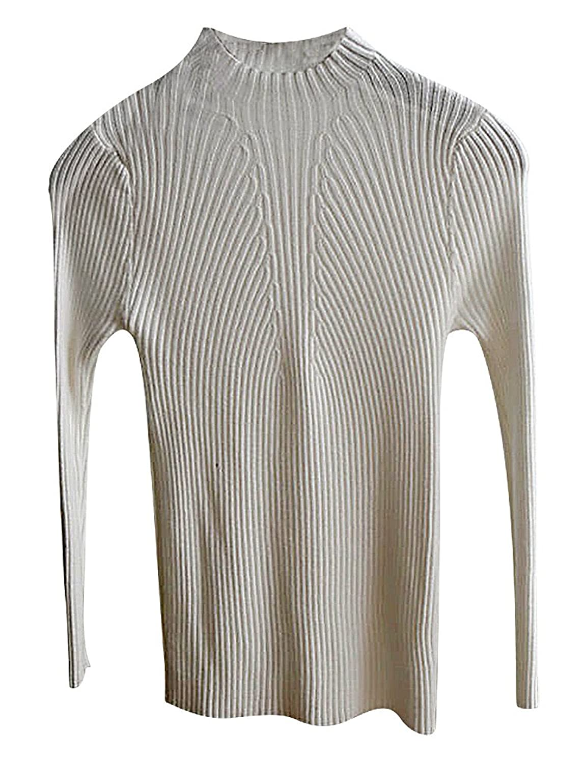 Maze, Women's Close Fit Long Sleeve Solid Color Ribbed Mock Neck Pullover