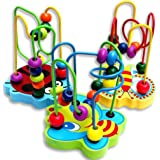 Ikevan 1 Pcs Hot Selling Colorful Wooden Mini Around Beads Educational Game Toy Gift for Children Kids Baby 0-3 Years Old Kids