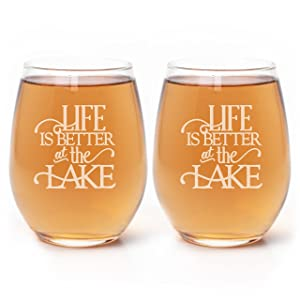 Life is Better at the Lake, Lake House Decor, Set of Two 20oz Etched Wine Glasses