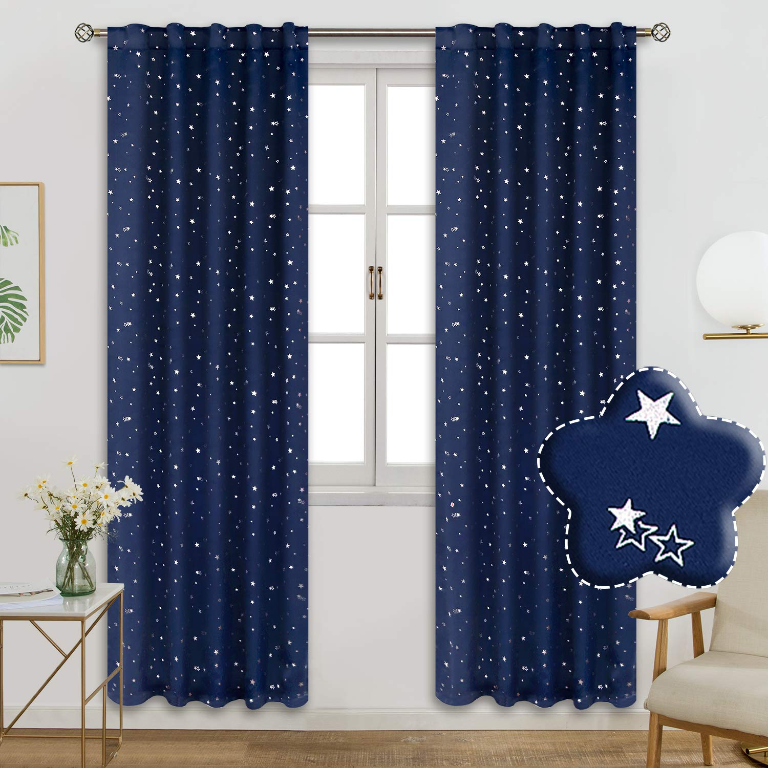 BGment Rod Pocket and Back Tab Blackout Curtains for Kids Bedroom - Sparkly Star Printed Thermal Insulated Room Darkening Curtain for Nursery, 42 x 84 Inch, 2 Panels, Navy Blue by BGment