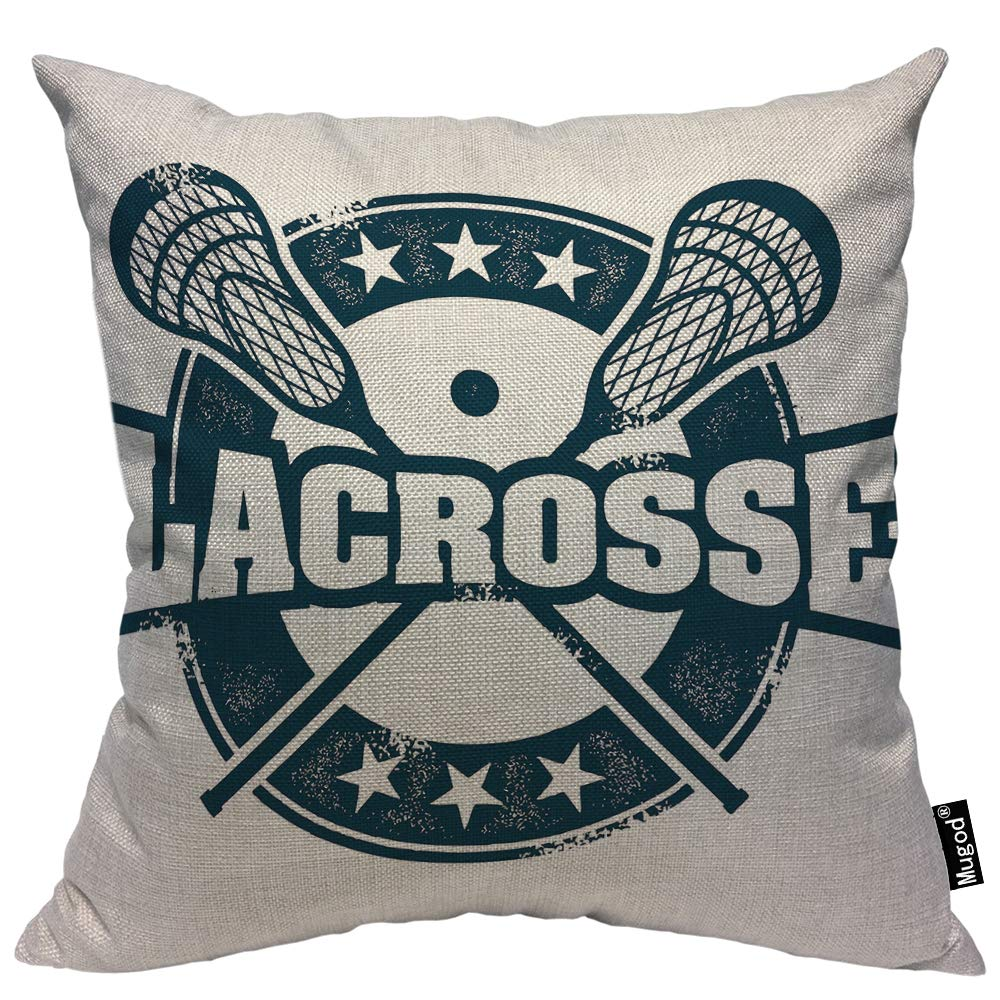 Mugod Lacrosse Throw Pillow Vintage Stamp Pattern Helmet Lacrosse Sticks Star Navy Blue Cotton Linen Square Cushion Cover Standard Pillowcase 18x18 Inch for Home Decorative Bedroom/Living Room/Car