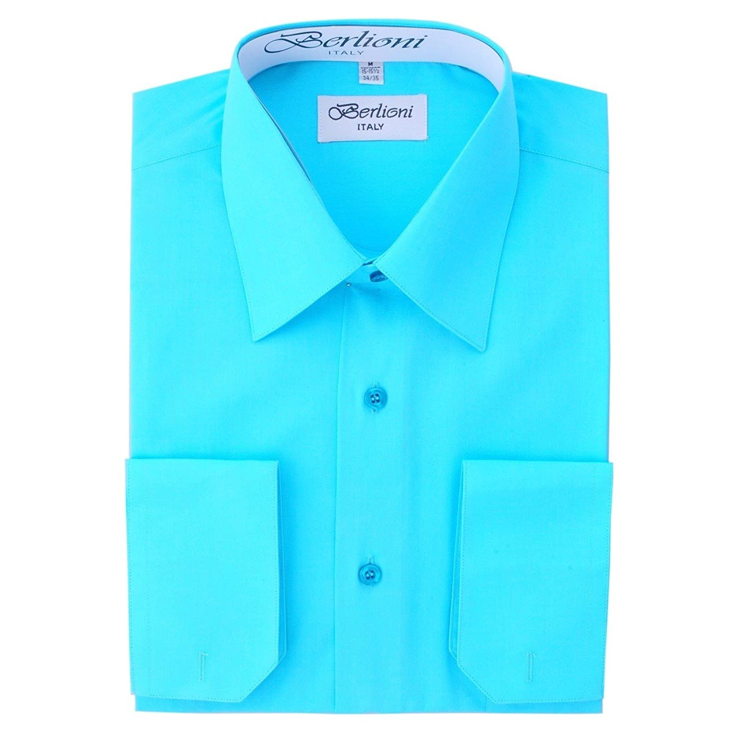 Elegant Men's Button Down Aqua Dress Shirt (XLarge - 17/17.5 Neck ...