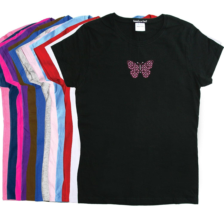 Pink Nailhead Butterfly - Rhinestone Rhinestone Women's T-shirt. Face - Rhinestone Women's T-shirt