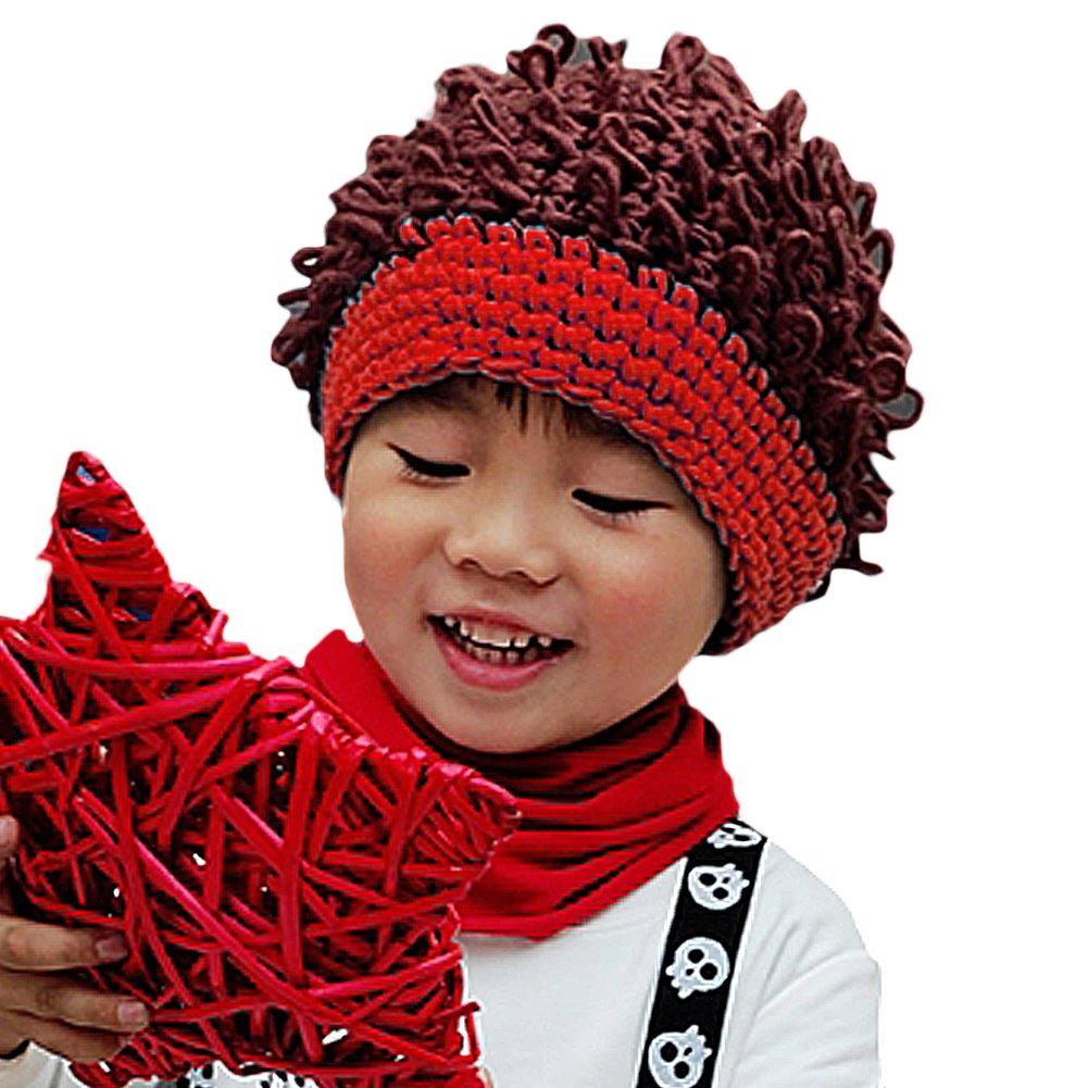 LOCOMO Baby Knit Crochet Rib Afro Bob Clown Wig Fake Hair Beanie Hat FBA037PUR