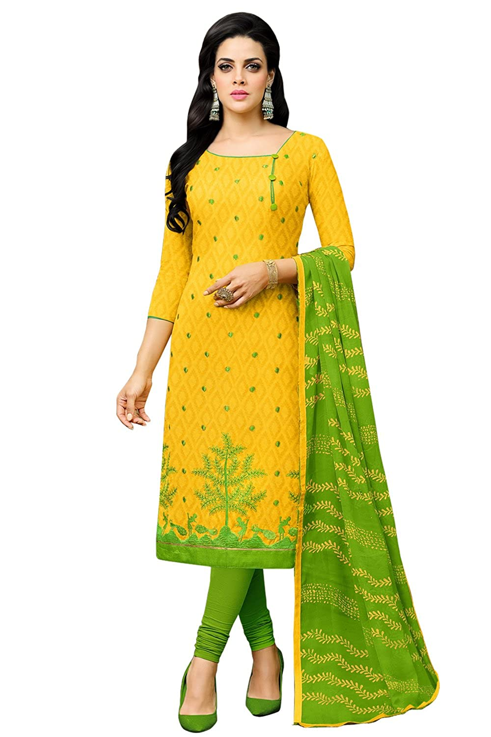 Applecreation Women's dress materials (Yellow_cotton dress materials 11DRD1008)