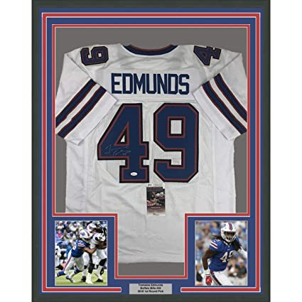 Image Unavailable. Image not available for. Color  Framed Autographed Signed  Tremaine Edmunds 33x42 Buffalo White Football Jersey JSA COA 48f007521