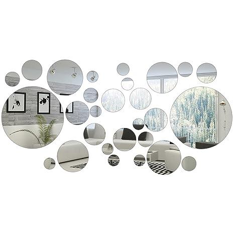 Charmant Shappy 32 Pièces Miroir Cercle Rond Autocollants Miroirs Ronds Décoration  De La Maison