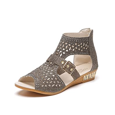 Aworth Women High Heel Sandal Women Sandal Retro Wedges Gladiator Shoes Woman Shoes Hollow Leather Summer