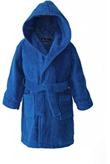 960ff353331d0 Personalised Children's Hooded Toweling Bathrobe Dressing Gown - Dark Blue  - Ages 2 to 12