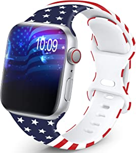 OHOTLOVE Compatible with Apple Watch 38mm 40mm 42mm 44mm for Women Men, Soft Silicone Pattern Printed Replacement Wristband Band For Iwatch Series 6 & Series 5 4 3 2 1.Old Glory A