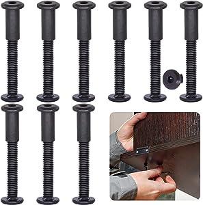 Keadic 25 Pieces Black M6x50 Socket Cap Bolts Barrel Nuts Kit, Binding Screws Posts for Baby Bed Furniture/Scrapbook Photo Albums Binding/Leather Saddles Purses Belt Repair