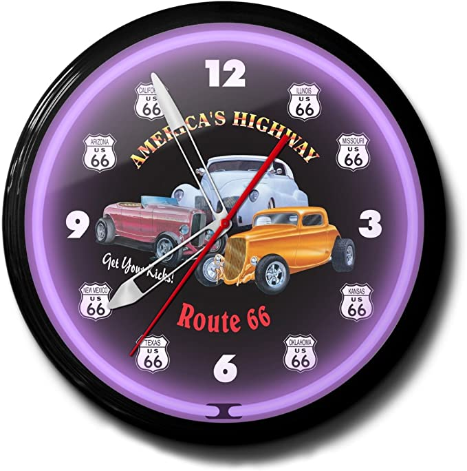 Details about  /NIB Route 66 Neon Clock Get Your Kicks On ROUTE 66 RED NEON