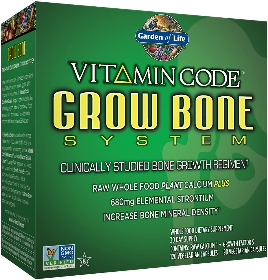 Garden of Life Raw Calcium and Growth Factors Supplement- Vitamin Code Grow Bone System Whole Food Vitamin with Strontium, Vegetarian (set): Health & Personal Care