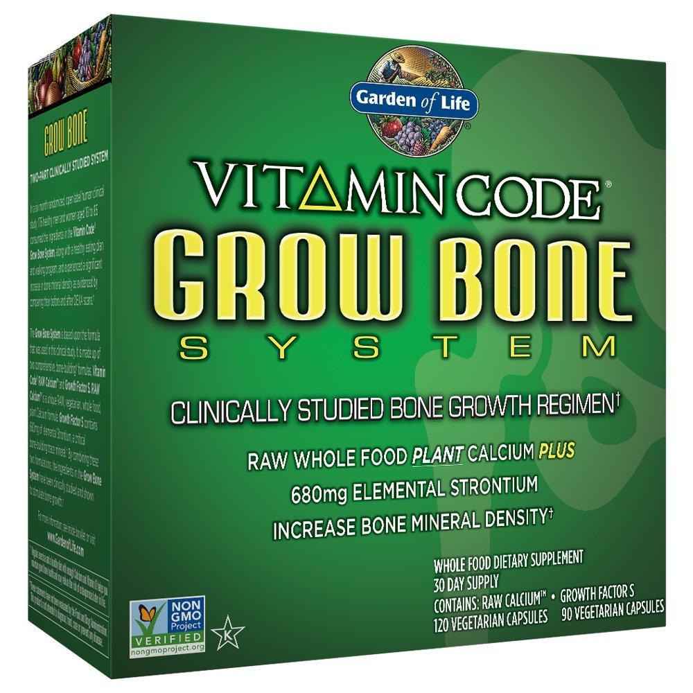 Garden of Life Raw Calcium Supplement - Vitamin Code Grow Bone System Whole Food Vitamin with Strontium, Vegetarian