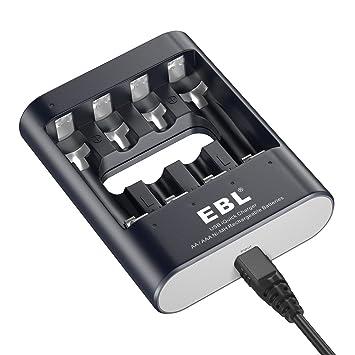 Cargador Rápido de Baterías, 40 Minutos Carga Completa para AA AAA Pilas Recargables con Cable USB