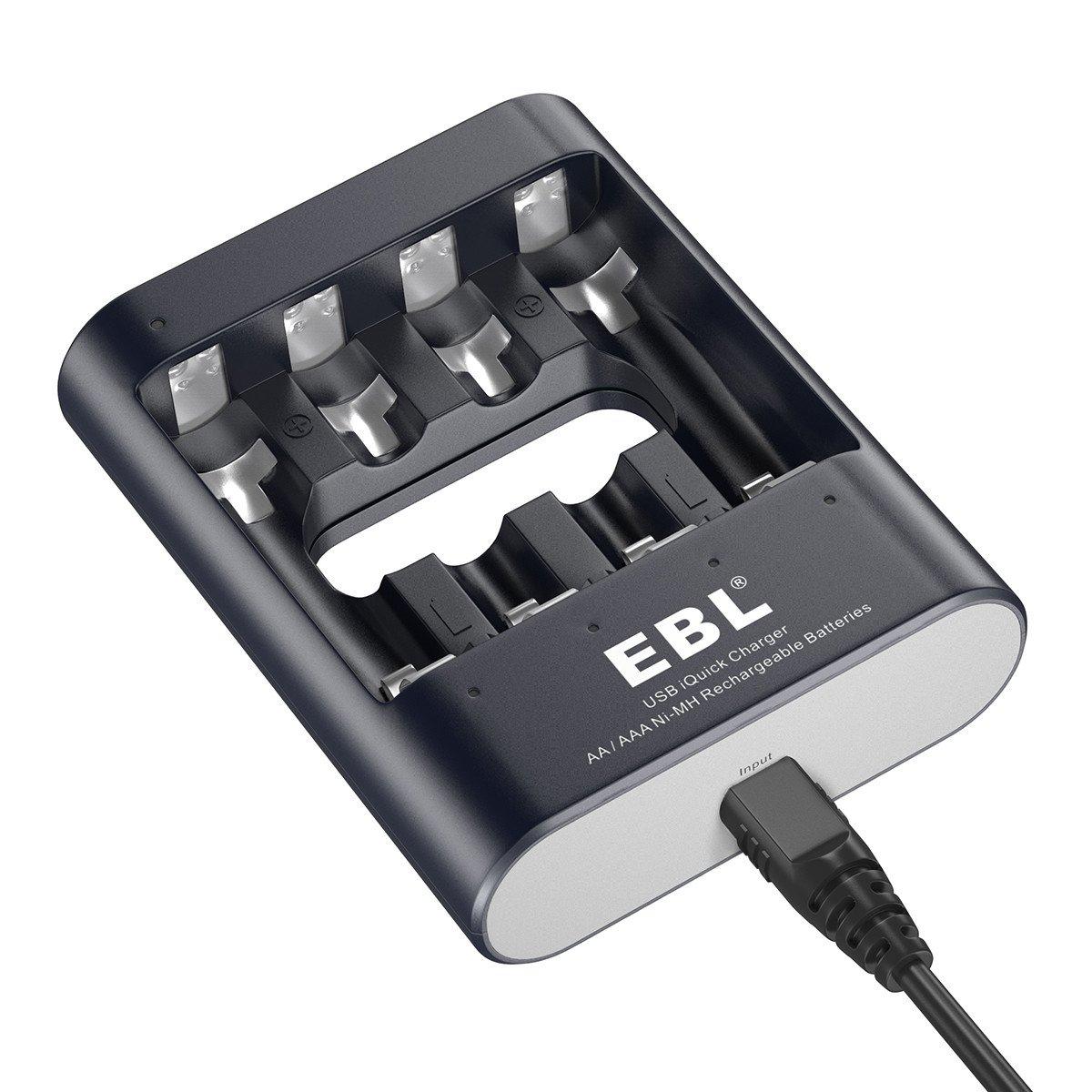 EBL U421 Quick Charger Cargador de Baterías con 4 Ranuras para Pilas Recargables del Tipo AA AAA para Ni-MH