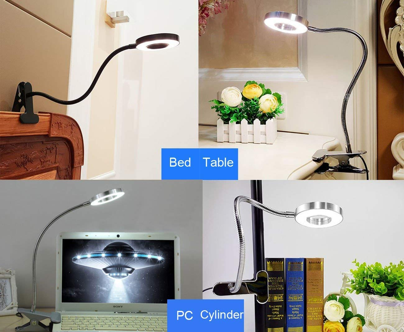 6W LED USB Dimmable Clip on Reading Light,Clip Laptop Lamp for Book,Piano,Bed Headboard,Desk,Eye-care 2 Light Color Switchable, Adapter Included(Black) by W-LITE (Image #3)