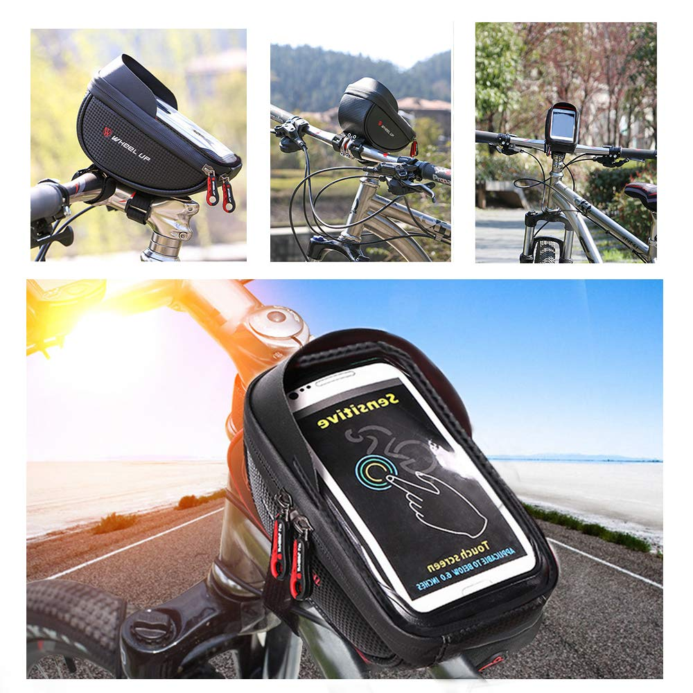 Bicycle Top Tube Pouch Yuede Bike Bag Bicycle Phone Bag Bike Frame Bag Cycling Nylon Waterproof Handlebar Bags Phone Holder Touch Screen 6 Inch for iPhone Samsung LG-Black//Grey