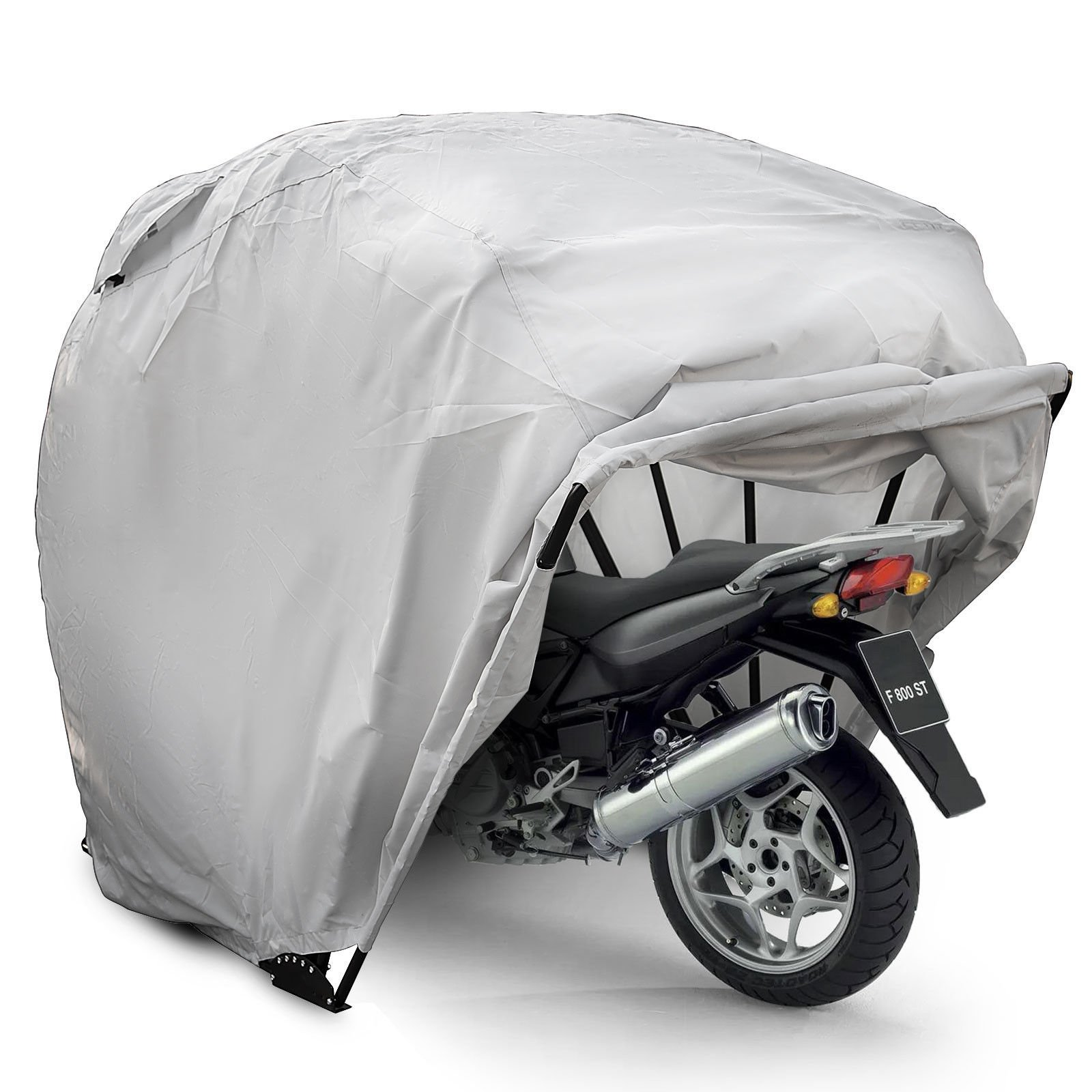 Happybuy Motorcycle Shelter Storage Waterproof Motorbike Storage Tent Oxford 600D Motorcycle Shelter Shed Fit Most Motorcycles (Large)