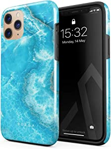 BURGA Phone Case Compatible with iPhone 11 PRO MAX - Sky Blue Teal Marble Turquoise Azure Ocean Cute for Girls Sea Waves Stone Heavy Duty Shockproof Dual Layer Hard Shell + Silicone Protective Cover