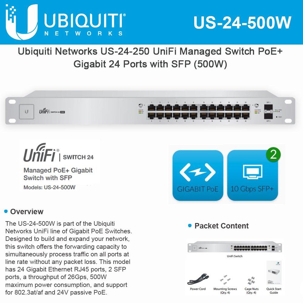 Ubiquiti UniFi Switch - 24 Ports - Manageable - 24 x POE+ - 2 x Expansion Slots - 10/100/1000Base-T, 1000Base-X - Rack-mountable - US-24-500W by Generic