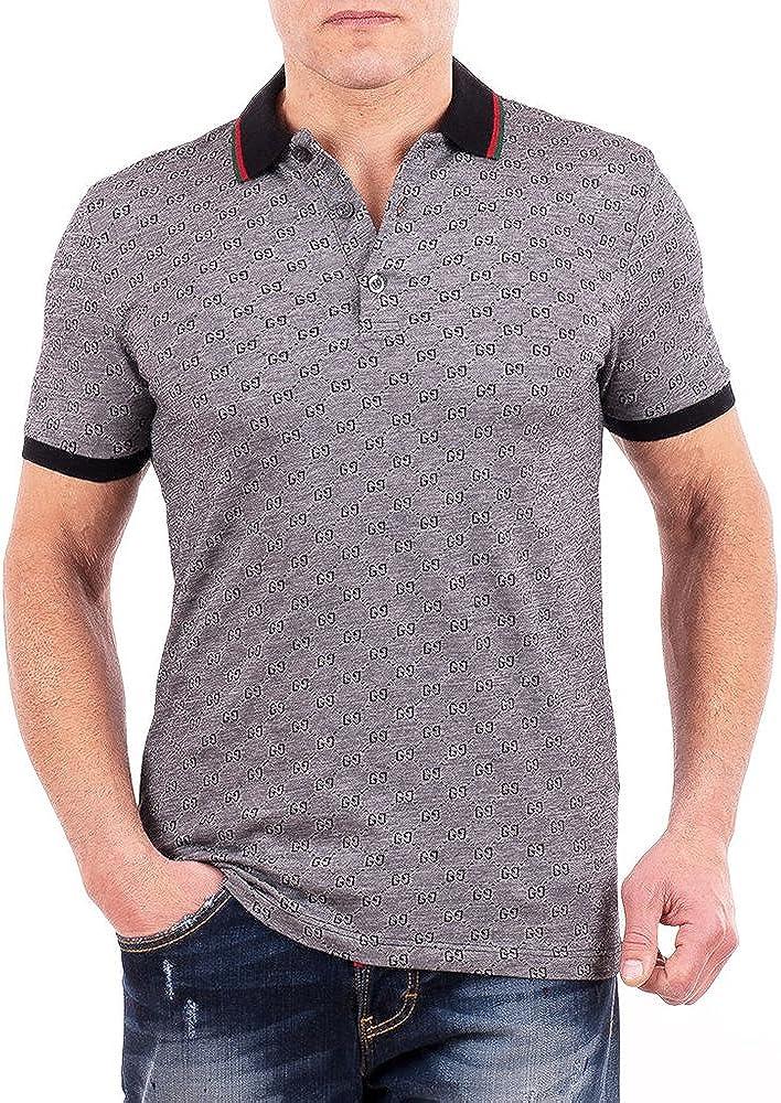 Gucci Polo Shirt, Mens Gray Short Sleeve Polo T- Shirt GG Print