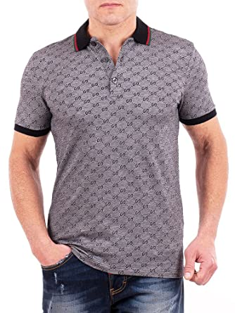 09696000 Gucci Polo Shirt, Mens Gray Short Sleeve Polo T- Shirt GG Print All Sizes