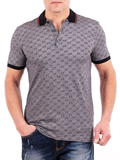 7fb5f33965 Gucci Polo Shirt, Mens Gray Short Sleeve Polo T- Shirt GG Print