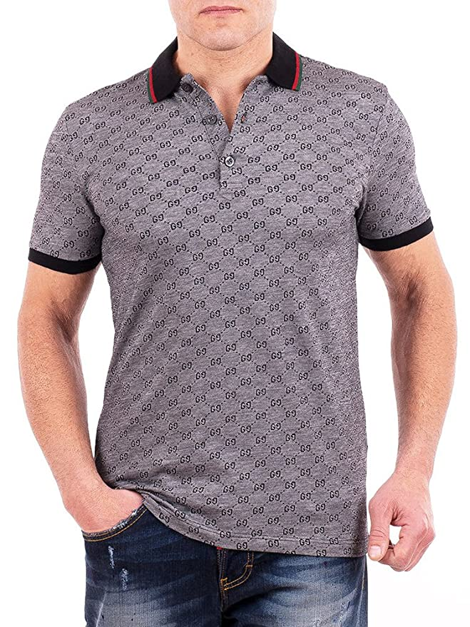 ef636f82b Amazon.com: Gucci Polo Shirt, Mens Gray Short Sleeve Polo T- Shirt GG  Print: Clothing