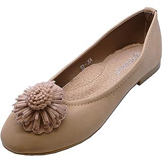 38afddd0c3 HeelzSoHigh Girls Kids Childrens Khaki Slip-On Smart Flat Shoes Dolly  Ballerina Pumps Sizes 11