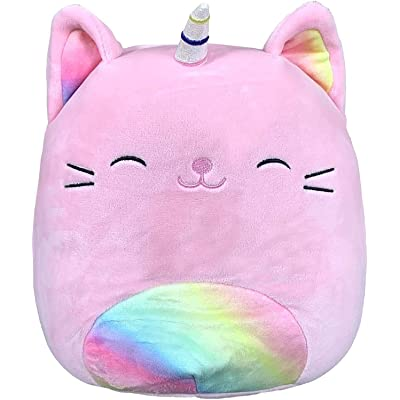 "Squishmallow 2020 Caticorn Plush Toy (16"" Sabrina The Pink Rainbow Tabby Cat Caticorn): Toys & Games"